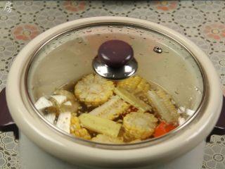 """胡萝卜玉米排骨汤,盖上盖子,摁下""""煲汤""""键,电炖锅开始煲汤。"""