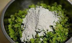 醋味榆钱饭,2在榆钱中加入干面粉,拌匀,让每一片榆钱都占匀面粉