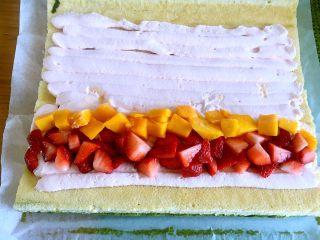 烫面抹茶蛋糕卷,整齐地堆放好水果