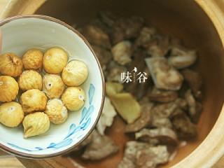 清甜润肺的雪梨无花果猪肺汤,处理好的猪肺和无花果,姜片一起放进汤锅里。