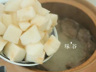 清甜润肺的雪梨无花果猪肺汤,1小时后加入梨子,继续炖煮半小时。