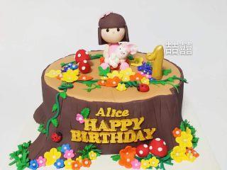 翻糖蛋糕--树桩上的小女孩儿