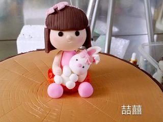 翻糖蛋糕--树桩上的小女孩儿,女孩小兔完成图