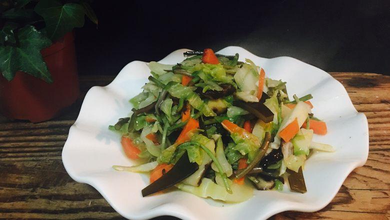 卷心菜炒胡萝卜炒海带炒芦蒿炒香菇炒竹笋