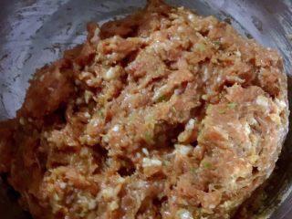 蒿子杆猪肉馅饺子,放入生抽盐鸡精香油拌匀一个方向搅拌至肉上劲