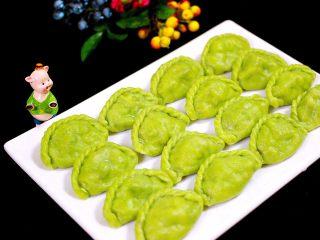 荠菜翡翠海鲜饺子,这是煮熟的饺子哟