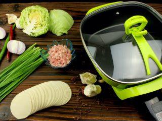 猪肉卷心菜煎饺,所需食材