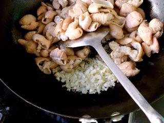 香辣肥肠锅,把三头蒜全切碎备用  锅里放食用油,加热后放入大约两头碎蒜 和汆过的肥肠一起炒 炒制肥肠出大量的油