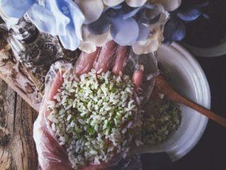 营养低脂 美貌便当 西兰花饭团🍙,将米饭摊在手中