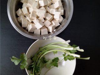 叉烧酱豆腐,备好食材:豆腐洗净,切成小方块;香菜洗净;