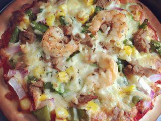 鲜虾牛肉披萨:简易版