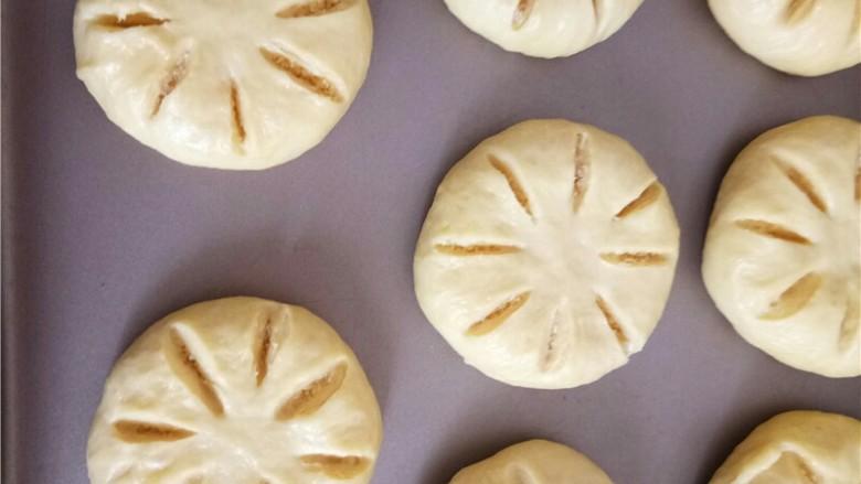 椰蓉花朵面包,依次包好,放入烤盘中进行二次发酵。