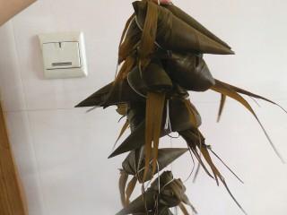 传统红枣粽,用线困住,用线困住的过程都要拉的紧一点,要不然会松散掉。做好的粽子放入高压锅,先大火煮上气,然后在转小火煮1个小时左右即可。