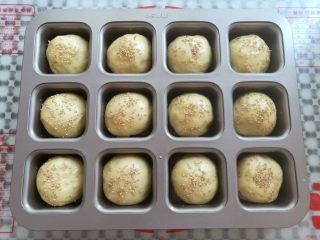 黄豆粗粮迷你汉堡,面团取出在表面刷一层薄薄的蛋液,撒上适量的白芝麻(同时预热烤箱上火130度,下火170度)