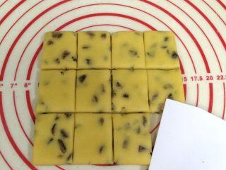 葡萄干奶酥,切成小长方形的块状。