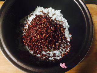 甜粽-红豆粽,控干水后把糯米和红豆倒进同一容器