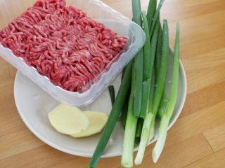 茄汁牛肉丸子烩饭, 1.备好做牛肉丸子材料:牛肉泥、葱和姜