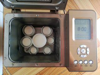 芒果酸奶(奶粉版),布丁瓶移到面包机里(面包桶取出来),选择酸奶程序发酵8小时