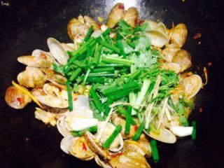 香辣花甲,放入少量清水将豆瓣酱炒均匀后放入葱段和香菜段。