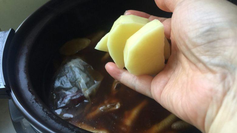 肉蟹煲,加入土豆块一起炖至软烂