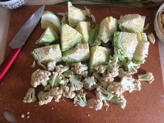 夏日减肥食谱之凉拌菜,菜花也切小块洗净
