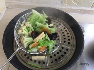 夏日减肥食谱之凉拌菜,选择一个炒锅,上面放上蒸锅中的篦子。把菜放在上面,一来是沥水,二来是凉的快。