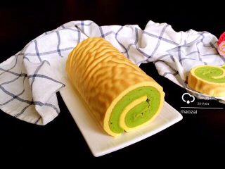 虎皮菠菜蛋糕卷,成品。