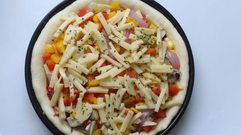 鸡肉蔬菜披萨,然后再撒上最后的100克芝士条,再放入适量的欧芹片即可