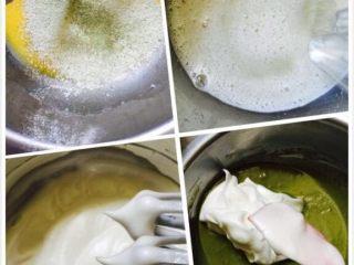 抹茶戚风蛋糕,筛入低粉、玉米淀粉、抹茶粉,搅拌至无颗粒;糖分三次加入到蛋清中,打到干性发泡(盆倒扣不流动的状态)倒三分之一蛋白到蛋黄糊,翻版均匀