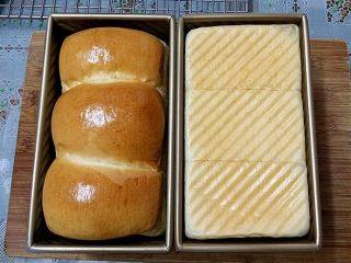 日式甜面包-中种法,表面金黄后取出倒之烤网上晾凉