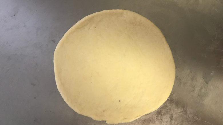 迷你香肠披萨,擀成圆薄片,边缘稍厚些。