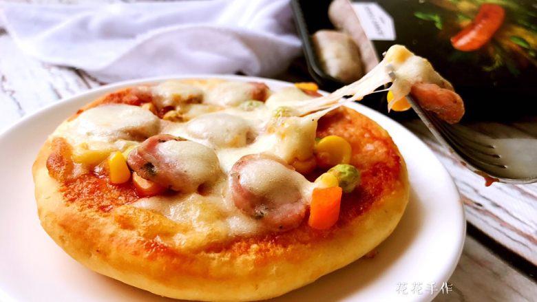 迷你香肠披萨,拉丝效果很棒。