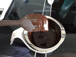 巧克力淋面蛋糕,提起刮刀,甘纳许流成细线状就是可以淋面的状态。