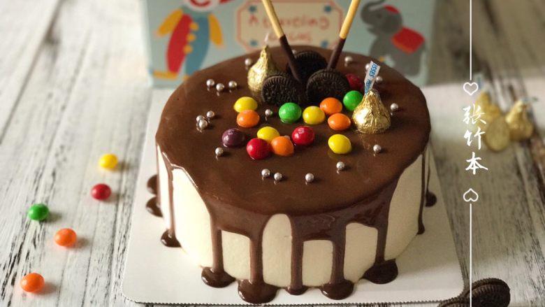 巧克力淋面蛋糕,祝朋友麻麻生日快乐哦~希望会喜欢
