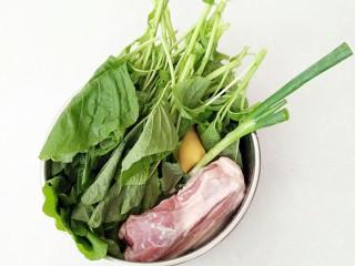 有情菜肉煎包,有情菜,彻底清洗干净,五花肉,葱姜,清洗干净。