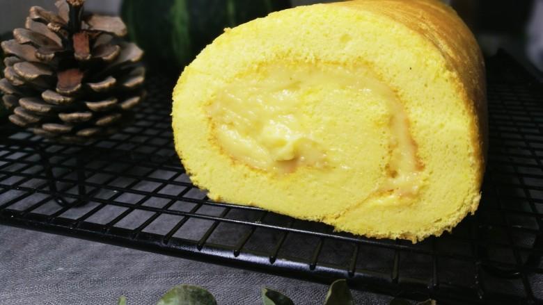 低卡南瓜蛋糕卷(内附无油低卡南瓜卡仕达酱做法)