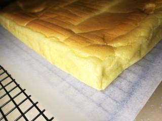 低卡南瓜蛋糕卷(内附无油低卡南瓜卡仕达酱做法),烤好后取出,撕掉旧烤纸,换新烤纸。趁热先卷一下。