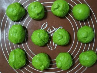 挤挤小面包-绿豆蛙表情包,一发完成后把面团拿出来用擀面仗排气,分成12个均匀的面团,大概是40g左右一个