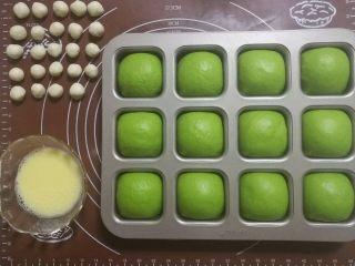 挤挤小面包-绿豆蛙表情包,二发好的面团从发酵箱中拿出来,烤箱170摄氏度预热。