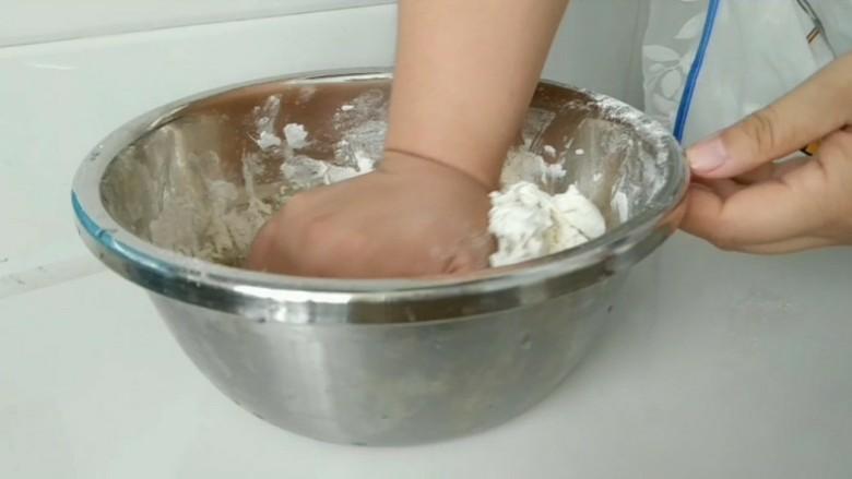 熊猫花样面食,揉成光滑面团,盖上保鲜膜发酵。