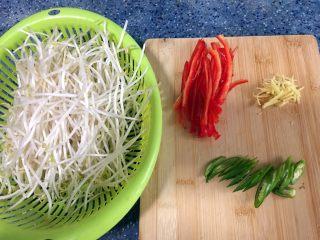 酸辣豆芽,食材处理: 1)豆芽摘去根部,摘的时候顺便把绿豆皮捡掉,洗干净。(如果觉得麻烦也可以半摘根) 2)湖南椒洗干净切块,斜着切。 3)红辣椒洗干净切成丝。 4)姜洗干净去皮切丝。
