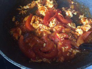 番茄鸡蛋意面,烧开,收汁;