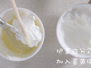 奶油蛋糕卷,将蛋白分两次加入蛋黄中