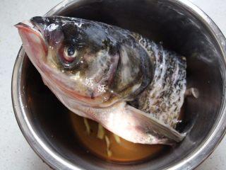 剁椒鱼头,鱼头处理干净,去鳃,清洗干净鱼血,腹部如果有黑色的腹膜也一并去掉,这些步骤下来基本鱼头就不腥了。将清洗干净的鱼头用姜片,料酒,生抽腌制一会儿