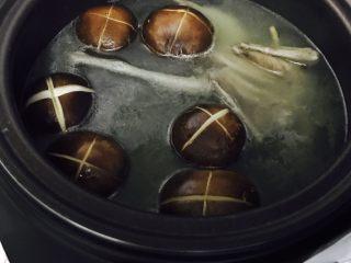 营养鸽子汤,放入香菇,枸杞,慢炖5min