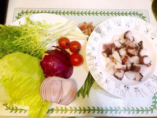 意大利海鲜低脂沙拉,所用食材:鱿鱼足,小番茄,苦苣,紫包菜,圆生菜,洋葱