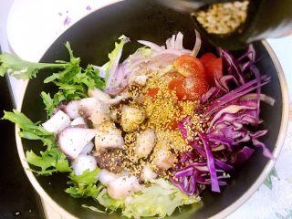 意大利海鲜低脂沙拉,撒入熟白芝麻