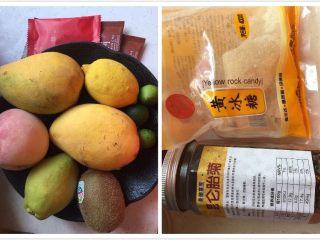 水果花茶,准备好的主要食材:芒果、柠檬、桃子、梨、猕猴桃、青金桔、红茶包、胎菊、黄冰糖