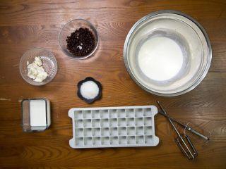 巧克力芝士冰淇淋小方,准备好所有东西,这样之后不会手忙脚乱