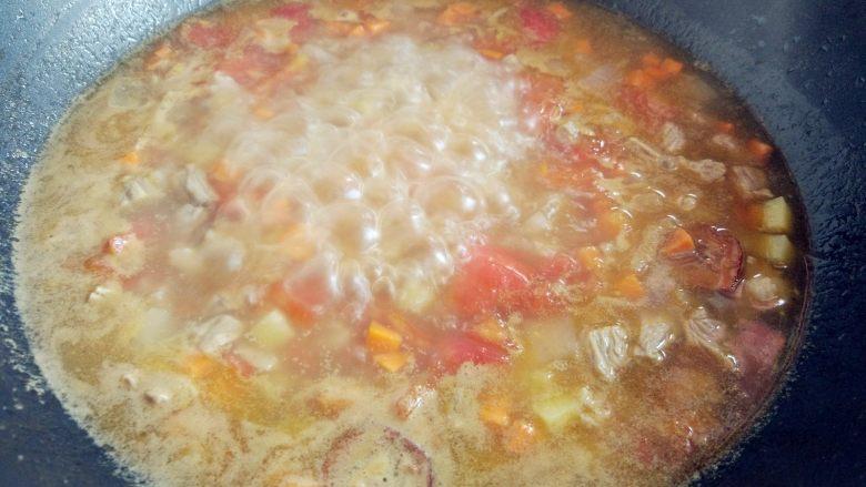 西红柿土豆炖牛肉,沸腾后撇去浮沫,改中火,盖上盖子炖20分钟左右